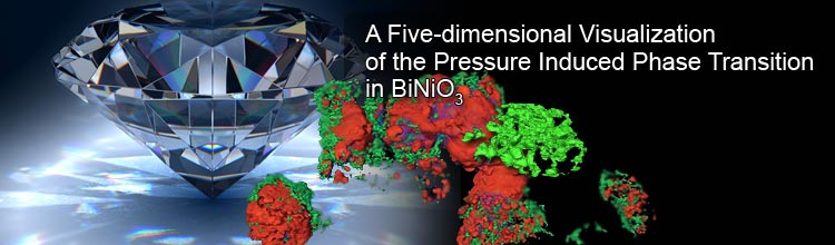 A Five-dimensional Visualization of the Pressure-induced Phase Transition in BiNiO3
