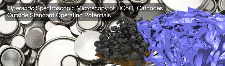Operando Spectroscopic Microscopy of LiCoO2 Cathodes Outside Standard Operating Potentials