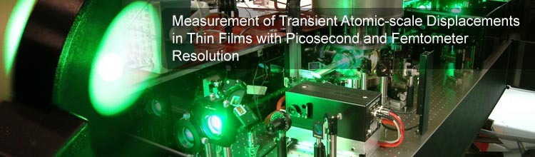 Measurement of Transient Atomic-scale Displacements in Thin Films with Picosecond and Femtometer Resolution