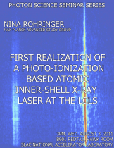 First realization of a photo-ionization based atomic inner-shell x-ray laser at the Linac Coherent Light Source