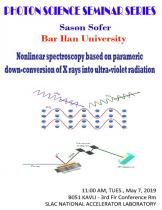 Nonlinear spectroscopy based on parametric down-conversion of X rays into ultra-violet radiation