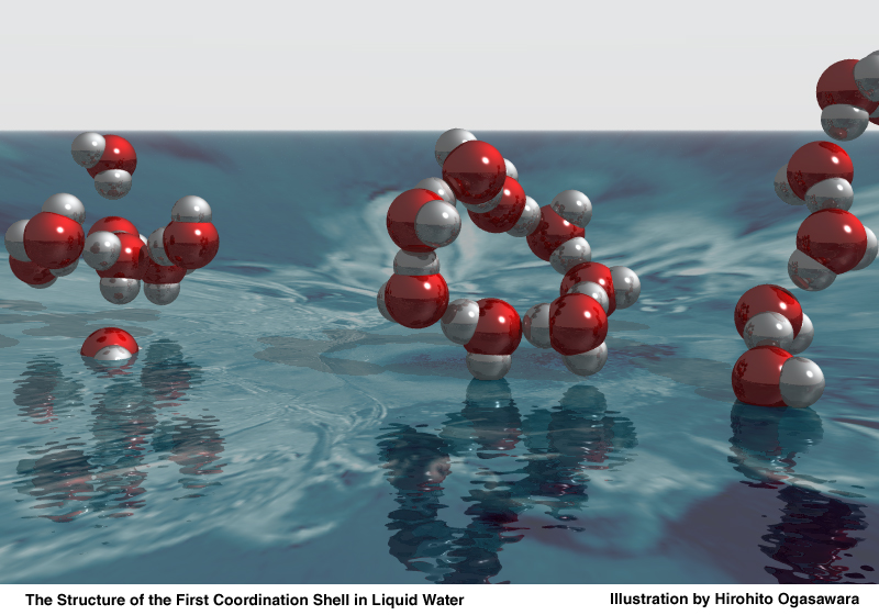 the structure of the first coordination shell in water rh www ssrl slac stanford edu Simple Compound Structure H2O Disrupted Water Molecules